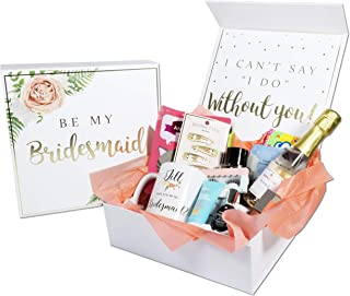 Blanche Bridesmaid Proposal Box with Gold Foiled Text   Set of 4 Empty Boxes   Perfect for Will You Be My Bridesmaid Gift and Wedding Present
