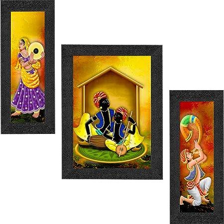 SAF Set of 3 Musical & Dancing Rajasthani Modern Art Digital Reprint Painting(22 inch x 14 inch,6518) SANFSM6518