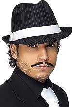 Smiffy's-36493 Sombrero Trilby Deluxe, Raya Banda Blanca, Color Negro, Tamaño único (Smiffys 36493)