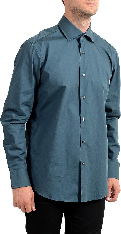 Hugo Boss Men's Gregory Regular Fit Blue Long Sleeve Dress Shirt US 16 IT 41