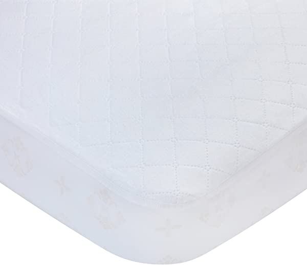 Carters Waterproof Fitted Quilted Crib And Toddler Protective Mattress Pad Cover White
