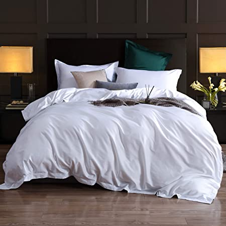 Duvet Cover Queen,3 Piece Bedding Sets 100% Egyptian Cotton 1200 Thread Count Comforter Cover and 2 Pillow Cases,White-90x90Inches