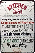 Sumik Kitchen Rules Try New Things Metal Tin Sign, Vintage Art Poster Plaque Home Kitchen Wall Decor