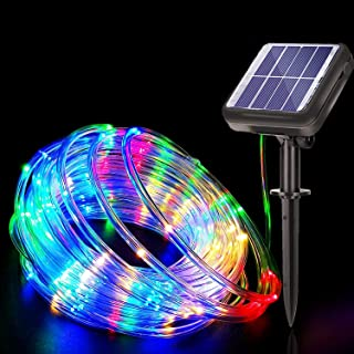 Solar Rope String Lights,DHWELEC 40Ft 120 LED Rope Lights Outdoor Waterproof with Remote Control,PVC Tube Multicolor Fairy...