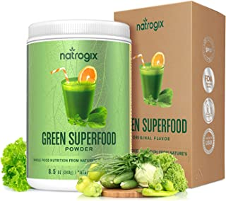 Green Superfood by Natrogix Super Greens Powder - 32 Whole Food Ingredients - Spirulina, Chlorella, Spinach, Barley/Wheat Grass…Probiotics Enzymes for Digestion Health. 8.5 oz 30 Day, Upgraded Taste.