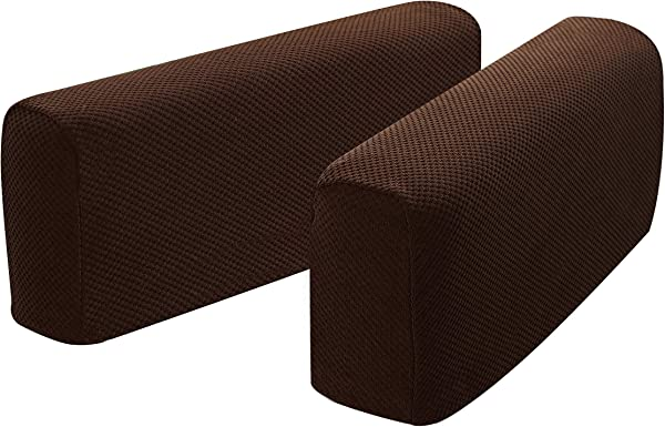 Hanhao Armrest Cover Ultra Thick And Soft Spandex Stretch Pixel Arm Cover For Recliners Sofas Chairs Loveseats Elastic Anti Slip Furniture Armrest Protector For Couch Set Of 2 Chocolate