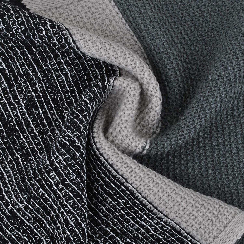EINSKEY Echarpe Homme Cachemire Laine Hiver Chaude Confortable /Écharpe Bleu et Gris