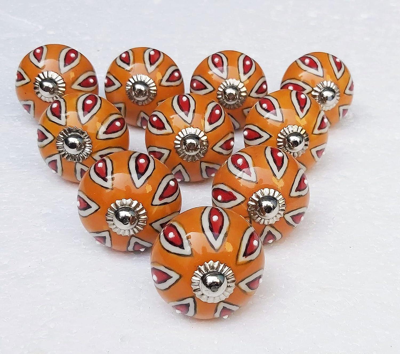 15 Pieces Ceramic Knobs Cabinet High Brand Cheap Sale Venue quality Handles Drawer Orange