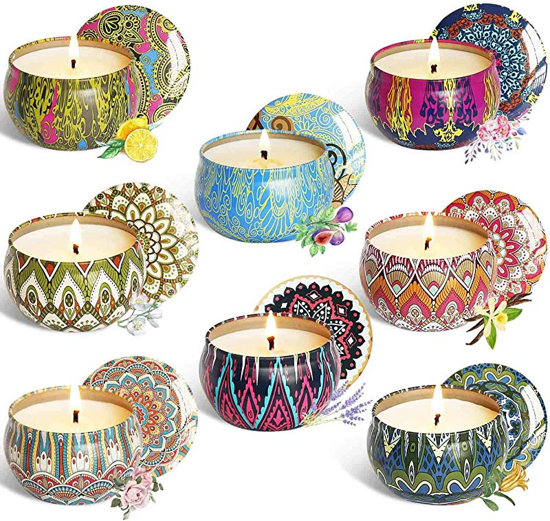 YCYH Scented Candles Gift Sets Natural Soy Wax 2 5 Oz Unit Portable Travel Tin Perfect For Women Aromatherapy Anniversary 8 Pack