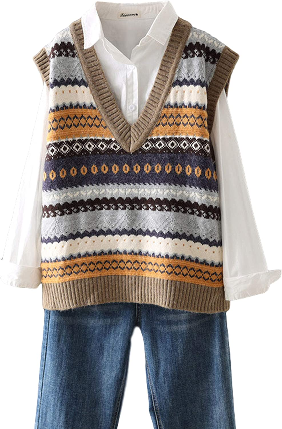 Gihuo Women's Vintage V Neck Sleeveless Ethnic Loose Knitted Sweater Vest Gilet