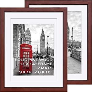11x14 Picture Frames Solid Wood - Display Pictures 9x12 or 8x10 or 11x14 Frame without Mat - Wooden Photo Frame 11x14 inch with 2 Mats for Wall Mounting or Table Top , 2 Set-Dark Cherry