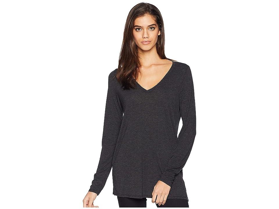 Michael Stars Brixton Jersey Long Sleeve V-Neck Boyfriend Tee (Black) Women's T Shirt