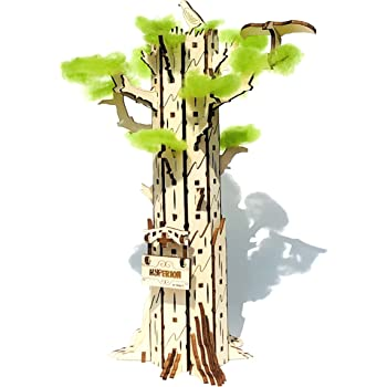 shopG ハイペリオン/ホワイト 3D立体パズル 木製 アクセサリーツリー 鍵掛け 秘密の宝箱 小物入れ セコイアの木