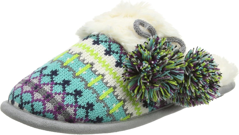 Dearfoams 50491 Sweater Knit Scuff Slippers Cool Combo