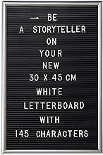 Relaxdays Letterboard, 145 letters, cijfers, speciale tekens, 45x30 cm, letterbord om in te steken, kunststof, zilver