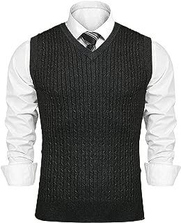 Sykooria - Chaleco para Hombre con Cuello en V de algodón