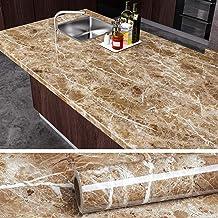 VEELIKE Brown Marble Contact Paper Peel and Stick Countertop Granite Wallpaper for Kitchen Cabinet Vinyl Waterproof Self A...