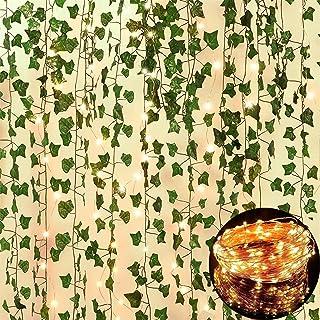 84 FT Artificial Ivy 12 Pack Ivy Vine Garland Ivy Leaves Greenery Garlands Hanging with 100 LED String Light Fake Leaf Pla...