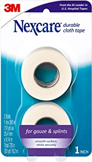Nexcare Durable Cloth First Aid Tape, Tears Easily, For Securing Splints and Bulky Dressings, 2 Rolls