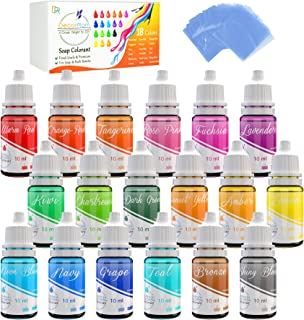 18 Color Bath Bomb Soap Dye with Shrink Wrap Bags - Food Grade Skin Safe Coloring for DIY Bath Bomb Making Handmade Soaps ...