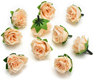 Fake flower heads in Bulk Wholesale for Crafts Artificial Silk Peony Flower Heads for Wedding Home Party Decoration DIY Bride Bouquet Mini Fake Flower 30pcs 4cm (Champagne)