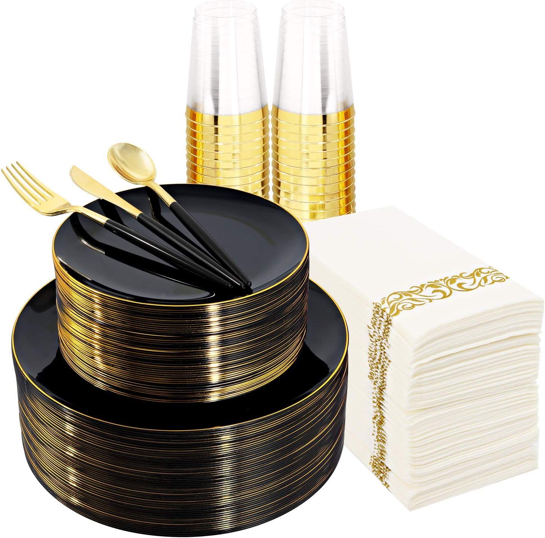Supernal overseas 350pcs Black Albuquerque Mall Plastic Dinnerware Set,Black