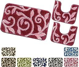 RedBeans m/ármol suave y suave con pedestal antideslizante Juego de 3 alfombrillas de ba/ño antideslizantes de franela para ba/ño