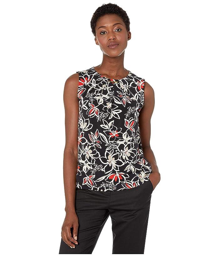 Calvin Klein Sleeveless Pleat Neck w/ Hardware