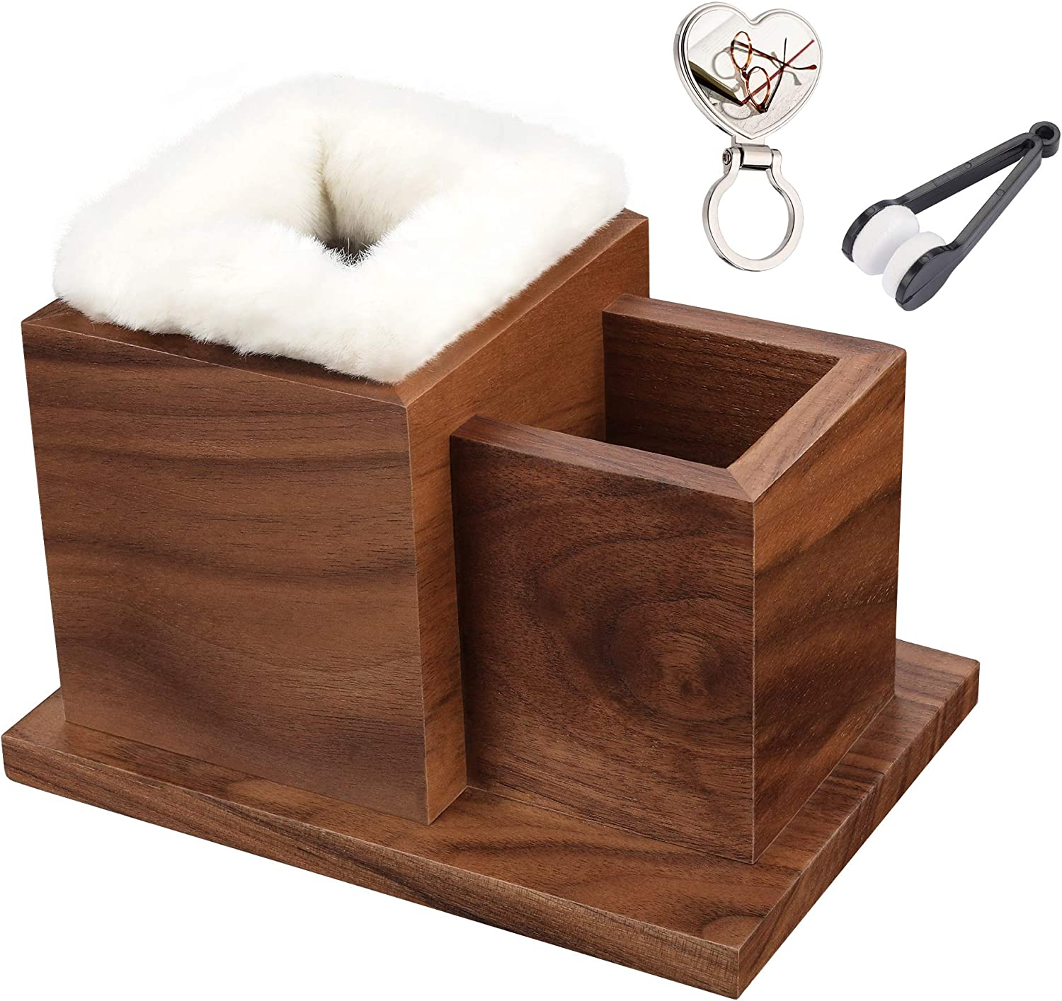 Elm Plush Lined Eyeglasses Holder Stand Natural Walnut Wood with Brooch and Microfiber Cleaner Soft Brush