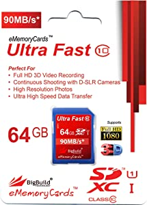 BigBuild Technology 64GB Ultra Fast 90MB s Memory Card For Canon Digit...