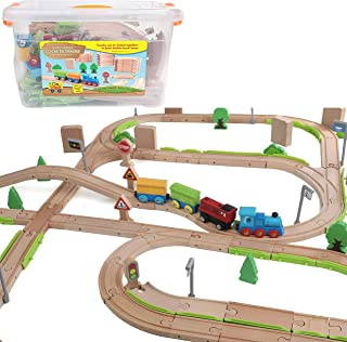 On Track USA 110 Piece Wooden Track Set, and 3 Trains with Double Track Lanes