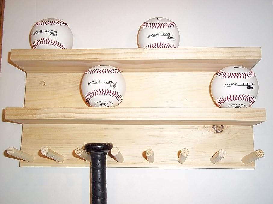 はい腐敗した国民フルサイズ野球バットラックディスプレイケース4?–?7?Bats 8ボールナチュラル仕上げ壁マウント