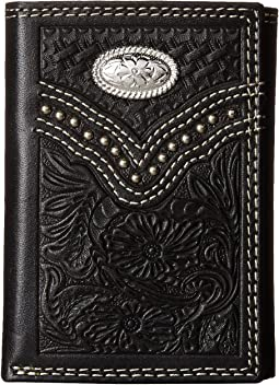 Embossed Floral Oval Concho Tri-Fold Wallet