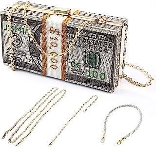 کیف پول کلاچ زنانه ، انباشته دلار نقدی کیف پول کریستال کریستال ، کیف های دستی شب الماس زنانه کیف دستی کوکتل بدلیجات ، کیف شام عروسی