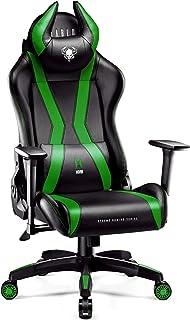Diablo X-Horn Silla Gaming Oficina Gamer Apoyabrazos 3D Cojín Ajustable Diseño Ergonómico Cuero Sintético Función de Inclinación (Negro-Verde, Normal)