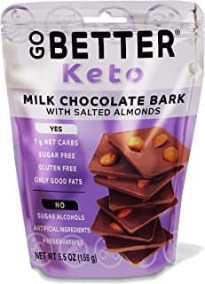 GO BETTER Keto Bark | Milk Chocolate with Dry Roasted Salted Almonds | 1 Net Carb, Gluten Free, Sugar Free ...