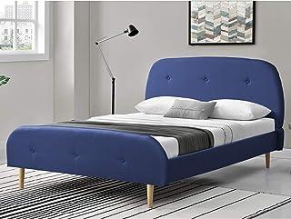 Lit Rembourré Solide avec Sommier à Lattes Lit Double Robuste Confortable Housse en Lin 200 x 160 cm Bleu