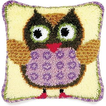 Bonarty Bear Pillow DIY Latch Hook Kits Rug DIY Kits Carpet Cushion Kit Yarn Carpet Embroidery Cushion Pillowcase Stitch Mat Home Carpet Bear Heart
