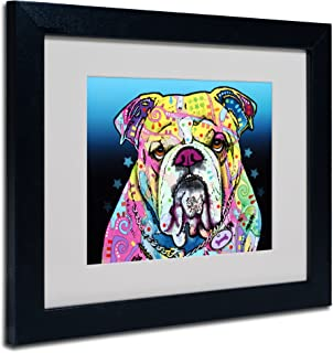 The Bulldog Matted Artwork by Dean Russo with Black Frame, 11 by 14-Inch