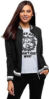 oodji Ultra Women's Jersey Bomber Jacket with Zipper
