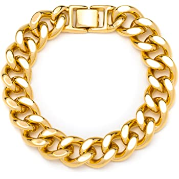 Lifetime Jewelry Figaro Bracelet 7MM 24K Thick Gold Plated Wrist Chain for Men or Women Comes in Pouch for Gift Giving Available from 7-9 Inches Lifetime Products Group 7mm Figaro Bracelet