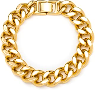 LIFETIME JEWELRY 15mm Cuban Link Chain Bracelet for Men & Women 24k Gold Plated with Lifetime Replacement Guarantee