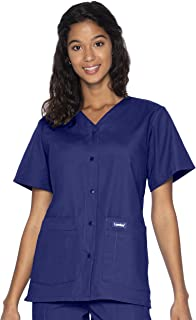 4-Pocket, Classic Relaxed Fit, V-Neck Snap Front Scrub Top 8232