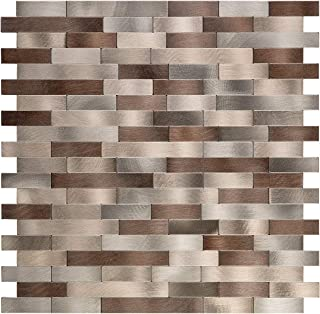 Decopus Metal Mosaic Tile Peel and Stick Backsplash (LNG15 Copper Brown Beige 5pc/Pack) for Kitchen Bathroom, Table Tops, Wall Accent (12'' x 12''x 0.16'' Thick), Self Adhesive Mosaic Metal Tile