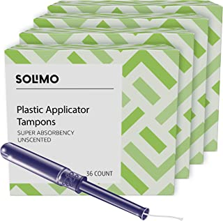 Amazon Brand - Solimo Plastic Applicator Tampons, Super Absorbency, Unscented, 36 Count (Pack of 4)