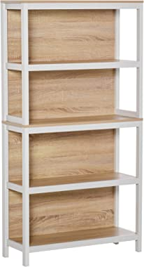 HOMCOM Bibliothèque Meuble de Rangement 4 étagères dim. 80L x 30l x 151H cm MDF chêne Clair Blanc