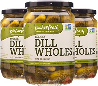 Pickerfresh Kosher Dill Wholes | Large Whole Pickles | Simple Ingredients | Non-GMO, No Artificial Color & No Preservative...