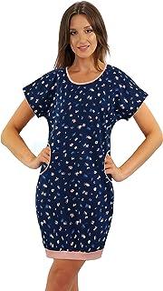 Camisón Pijama Mujer Manga Cortas con Bolsillos Algodón Camisa de Dormir