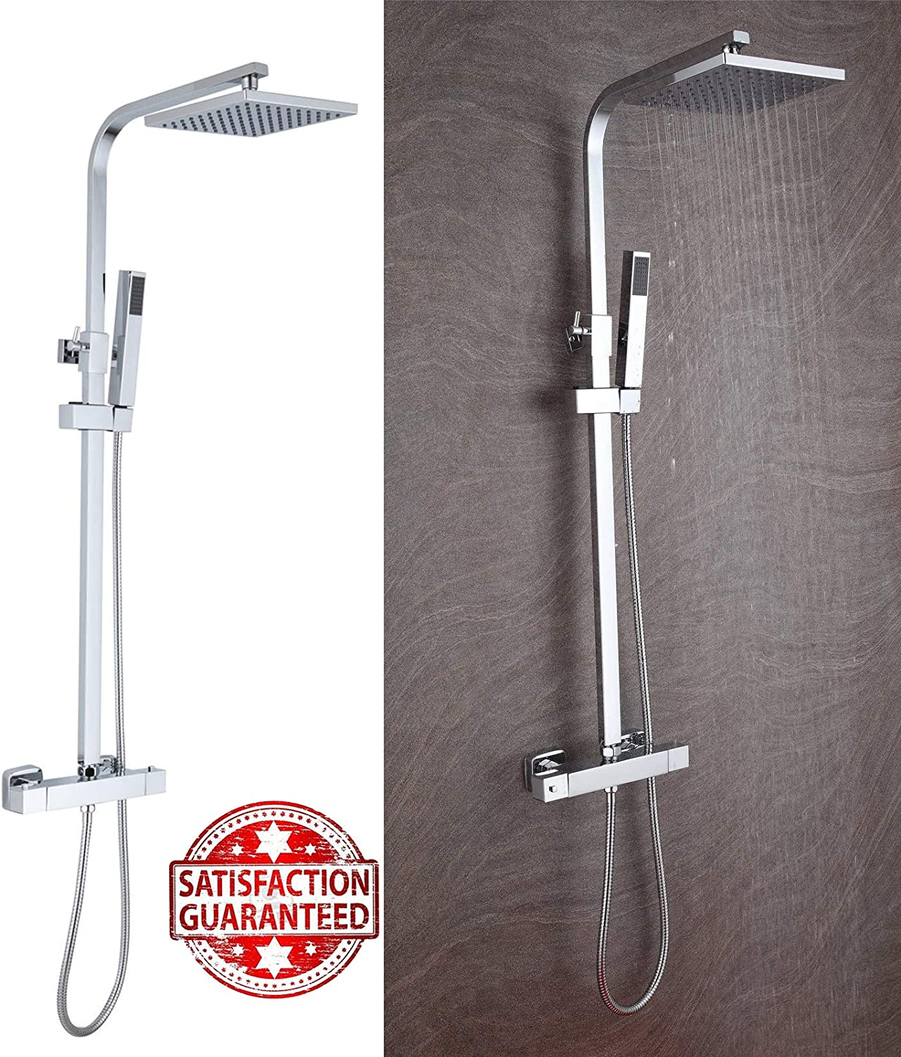 Shower System 38°C Thermostatic 2-Way Mixer Shower with Square 8 Inch Rainfall Shower Head and Hand Held Shower -Function Shower System for Bath Bar Adjustable Chrome +Adjustable Rail 2.5M Hose