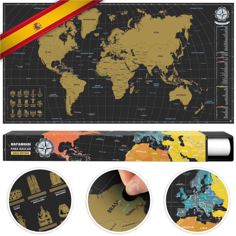 benehacks Mapa del Mundo en ESPAÑOL Tipo póster para rascar SIGA Sus Aventuras de Viaje en un Mapa detallado del Mundo - Mapamundi Oro/Negro - 84 x 44 cm: Amazon.es: Juguetes y juegos